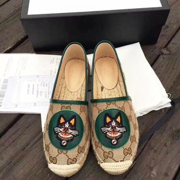 Gucci Fisherman shoes High quality Puppy Print Shoes Green