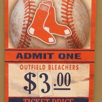 "BOSTON RED SOX GAME TICKET ADMIT ONE GO RED SOX WOOD SIGN 6""X12'' NEW WINCRAFT"