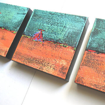 Turquoise Acrylic Abstract Paintings Original Triptych on Canvas SALE