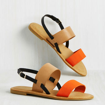 Varied Itinerary Sandal in Orange Colorblock | Mod Retro Vintage Sandals | ModCloth.com