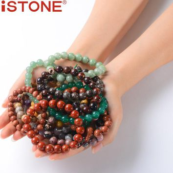 iSTONE Classic Natural Beaded Stone Stretch Bracelet For Woman