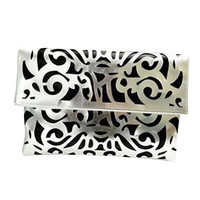 22Pink Cutout Candy Fluorescent Color  Day Clutches Envelope Evening Bag Retro--Silver