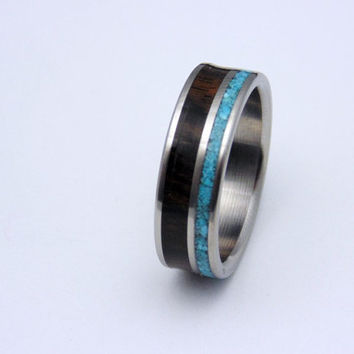 Titanium and wood ring Ziricote waterproof wood with Turquoise inlay  Handmade