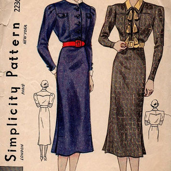Rare 1930s Simplicity Sewing Pattern 2236 High Fashion Dress Lap Pleat Skirt High Neck Shawl Double Collar Blouse Bust 34