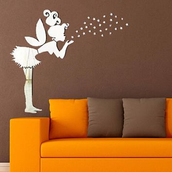 3D Mirror Wall Sticker Kids Bedroom Decoration Angel Magic Fairy & Stars