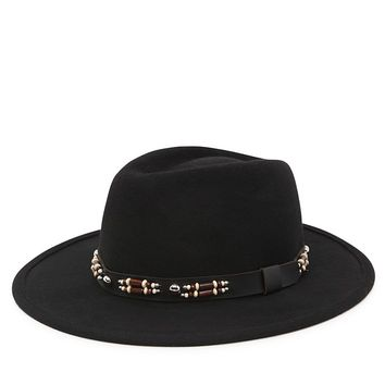 With Love From CA Western Trim Panama Hat - Womens Hat - Black - One