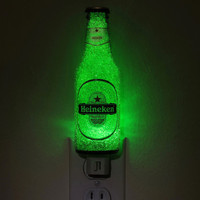 "7oz Heineken Jumbo Night Light / Accent Lamp- VIDEO DEMO-  Eco LED...""Diamond Like"" Glass Crystal Coating on interior"