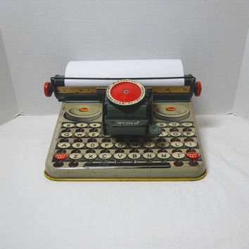 1950s Vintage Unique Dependable Toy Typewriter, Tin Lithograph, Working Condition, Uneek Artie, Vintage Toys, Toy Office Equipment, Made USA