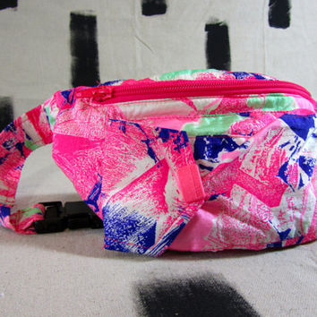 Totally Rad Vintage 1980's Neon Graphic FannyPack Hip Bag Fluorescent Rave Festival Wear