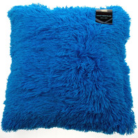 Neon Blue Shag Pillow Plush Throw 20x20 Polyester Living Room Sofa Bed Decor
