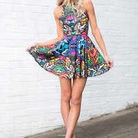 Hyper Moth Reversible Skater Dress