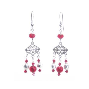 Murano Glass Red Chandelier Sterling Silver Earrings