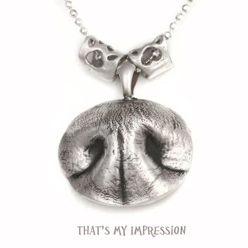 Silver Bronze Dog Nose Pendant- Great Gift for Pet Owners-