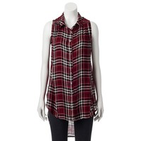 S.o. R.a.d. Collection by Awesomeness TV Juniors' Plaid Sleeveless Super Shirt, Size:
