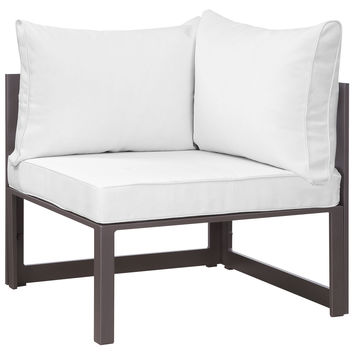 LexMod Fortuna Corner Outdoor Patio Armchair in Brown White