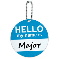 Major Hello My Name Is Round ID Card Luggage Tag
