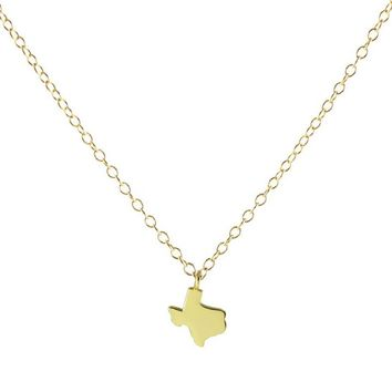 Kris Nations State Pride Collection Small Solid Texas Necklace Gold