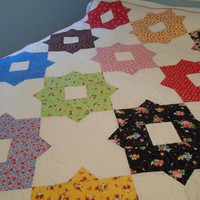 Lap Quilt with Stars, Star Quilt, Floral Quilt, Twin Quilt, Quilted Sofa Throw, Handmade Blanket,  Cottage Shabby Chic, Floral Lap Quilt