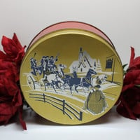 Vintage Gold Lid Tin Colonial Winter Scene Fruit Cake or Cookie
