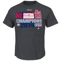 St. Louis Cardinals Majestic 2014 NL Central Division Champions Locker Room T-Shirt - Charcoal