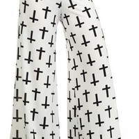L&B Plus White/Black Crosses Wide Palazzo Pants