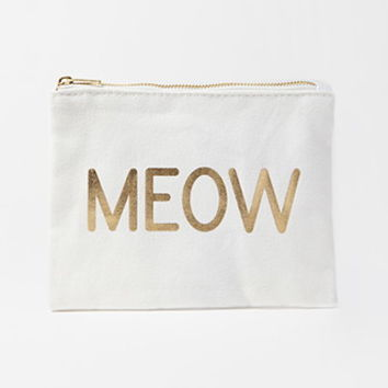 Metallic Meow Canvas Pouch
