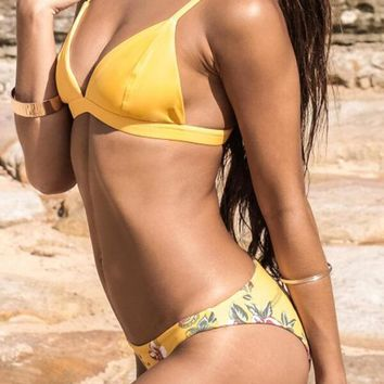 SOGO Yellow Triangle Bikini Set