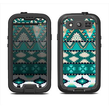 The Vector Teal & Green Aztec Pattern  Samsung Galaxy S4 LifeProof Fre Case Skin Set