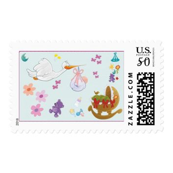 Stork Baby Girl Shower Stamps
