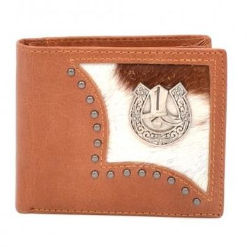 Genuine Leather Man's Western Boots Wallet-Brown