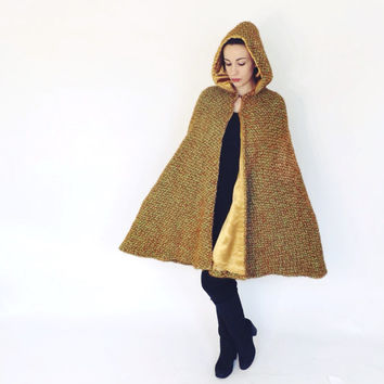 Vintage 1960s 70s Wool Knit Hooded Cape Coat Mod Jacket Maxi Cloak Retro Poncho Mad Men Medium Fall Winter Cape Boho Hippie Avant Garde