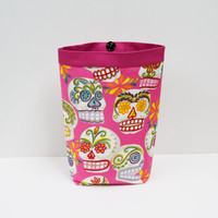 Car Trash Bag PINK SKULLS Calaveras by Alexander Henry, Women, Car Litter Bag, Auto Accessories, Auto Bag
