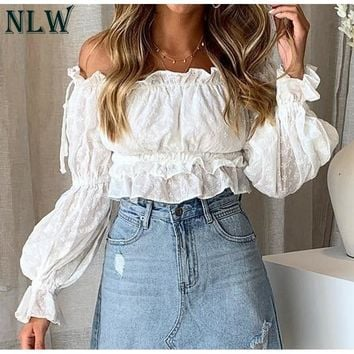 NLW Sexy Off Shoulder Slash Neck Women Crop Tops and Blouse Casual Holiday White Embroidery Beach Shirt Female Short Blouse