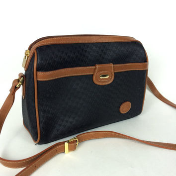 80s LIZ CLAIBORNE | Black Vinyl | Genuine LEATHER Trim and Strap | Adjustable | Crossbody Shoulder Bag