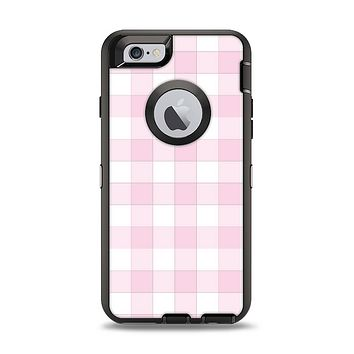 The Light Pink and White Plaid Pattern Apple iPhone 6 Otterbox Defender Case Skin Set