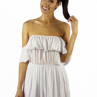 Elan Ocean Breeze Off The Shoulder Dress White