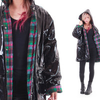 Black PVC Raincoat Wippette Shiny Wet Look Hooded Rain Coat Plaid Lining Club Kid Hipster Vintage Clothing Womens Size Large XL
