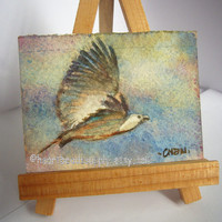Take Flight nature version, eagle, original aceo peinture, sky, watercolor painting, landscape, wall art id1360768, not a print, gift