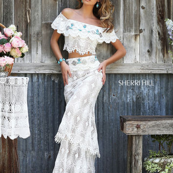 Ivory Lace Sherri Hill Off The Shoulder Two Piece Prom Dress 32230