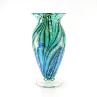 Hand Blown Art Glass Vase - Turquoise, Apple Green, and Lapis Blue - Ocean - Beach - Tropical