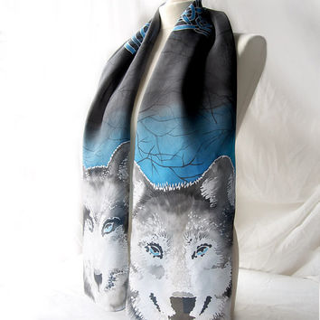 Wolf scarf Celtic Knot scarves - hand painted scarf - silk scarf Celtic Wolfs - unisex scarf - man scarf - gray blue scarf - black scarf