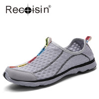 RECOISIN New Summer Women&Men Shoes Men Slip-On Breathable Mesh Beach Water Walking Shoes Plus Size 48 Fashion Mens Casual Shoes