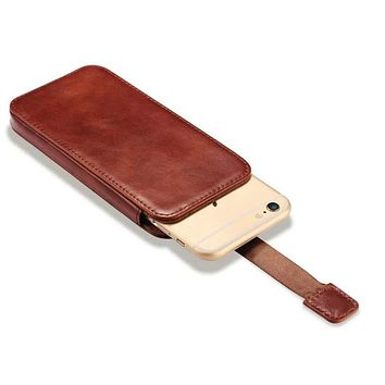 Vintage Mobile Phone Pouch Bag For Apple iPhone 7 6 6S Luxury Genuine Leather Push Out Holster Case For iPhone 6 6S Plus/ 7 Plus