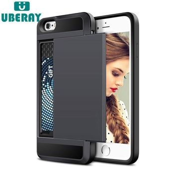 Slide Wallet Credit Card Slot PC Phone Case For iPhone 6 7 8 X 6S Plus 5 s 5S SE 5C Dual Layer TPU Armor Shockproof Back Cover