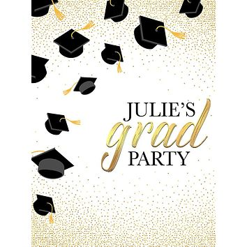 Gold Sparkled Graduation Hats Party Theme Backdrop (Any Color) Background - C0249
