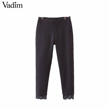 Vadim women sweet lace patchwork black pants pockets office lady work wear brand casual ankle length trousers mujer KZ931