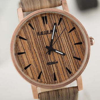 Archaize Stripe Men Women Wood Grain Watch = 1956884996