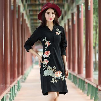 KYQIAO Traditional Chinese dress 2017 Women ethnic dress female autumn Mexican vintage black red embroidery dress gown vestidos