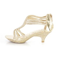 Gold Rhinestone Strappy Kids Heels Faux Leather
