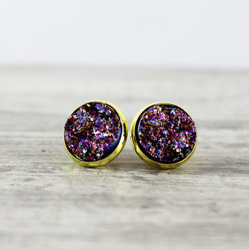 Metallic Stud Earrings, Gold Stud Earrings, Faux Druzy Earrings, Druzy Stud Earrings, Pink Stud Earrings, Purple Stud Earrings, Resin Stud